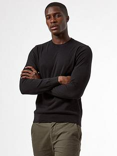 burton-menswear-london-fine-gauge-crew-neck-jumper-black