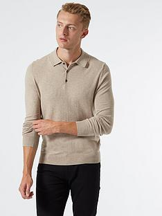 burton-menswear-london-fine-gauge-knitted-polo-top-stone