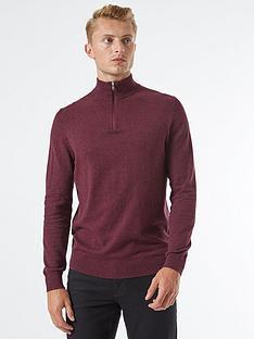 burton-menswear-london-half-zip-jumper-burgundynbsp