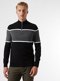 burton-menswear-london-chest-stripe-half-zip-jumper--nbspblack