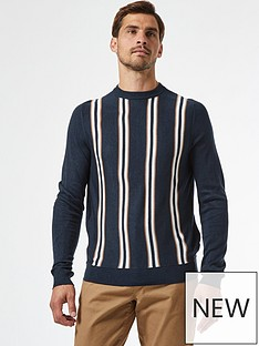 burton-menswear-london-thin-vertical-stripe-crew-neck-jumper-navy