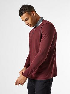 burton-menswear-london-jacquard-collar-long-sleeve-polo-shirt--nbspburgundynbsp