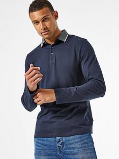 burton-menswear-london-jacquard-collar-long-sleeve-polo-shirt-navy