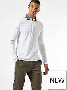 burton-menswear-london-jacquard-collar-long-sleeve-polo-shirt--nbspwhite