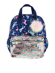 monsoon-girls-electric-unicorn-pom-backpack-navy