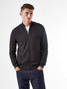 burton-menswear-london-fine-gauge-zip-through-jumper-black