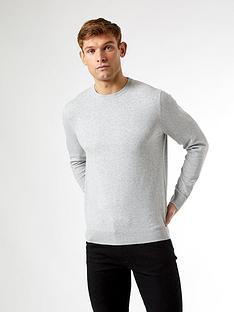 burton-menswear-london-fine-gauge-crew-neck-jumper--nbspgrey