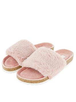 accessorize-luxe-faux-fur-slider-with-cork-base-pink