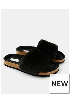 accessorize-nbspluxe-faux-fur-slider-with-cork-base-black