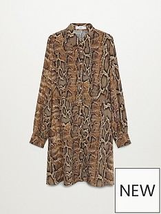 mango-snake-mini-shirt-dress-brown