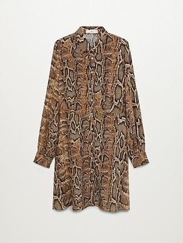 mango-snake-mini-shirt-dress-brown