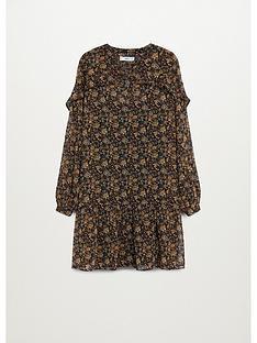 mango-vintage-floral-frill-dress-brown
