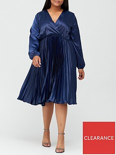 ax-paris-curve-satin-pleated-dress-navy