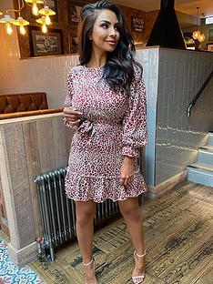 ax-paris-ax-paris-long-sleeve-printed-frill-hem-dress