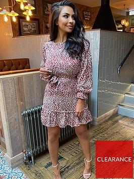 ax-paris-long-sleeve-printed-frill-hem-dress-multi