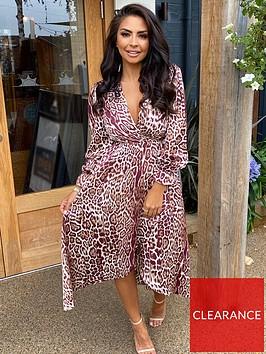 ax-paris-plum-printed-midi-wrap-dress