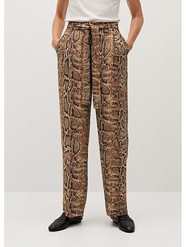 mango-wide-leg-snake-trousers-brown