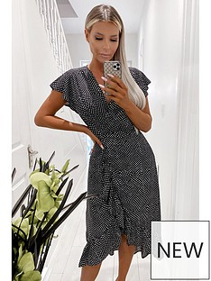ax-paris-printed-wrap-midi-dress-black