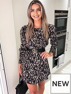 ax-paris-printed-long-sleeve-frill-dress-black