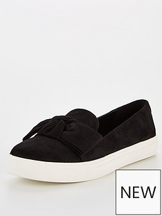 v-by-very-apple-bow-slip-on-trainers-black