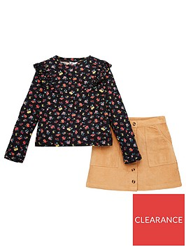 v-by-very-girls-floral-long-sleeve-top-and-cord-skirt-set-multi