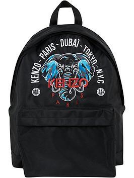 kenzo-elephant-printed-backpack-black