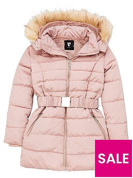 v-by-very-girls-faux-fur-hooded-belted-coat-blush