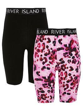 river-island-girls-2-pack-printed-cycling-shorts--nbspblackpink