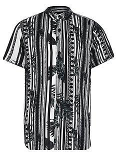 river-island-boys-mono-leaf-stripe-shirt--nbspblack