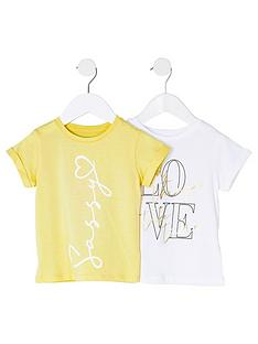 river-island-mini-mini-girls-2-pack-tshirt--yellowwhite