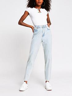 river-island-high-waist-tapered-jean-light-wash