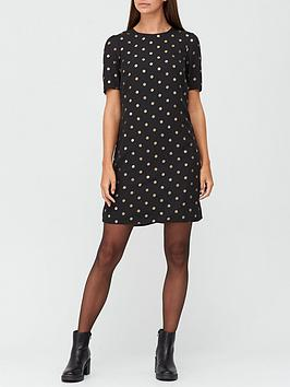 v-by-very-ruched-sleeve-foil-shift-dress-print