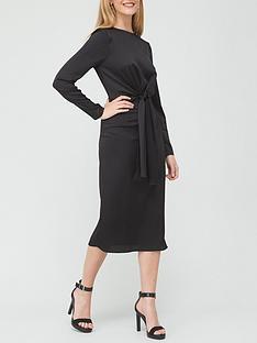 v-by-very-crinkle-twist-front-midi-dress-black