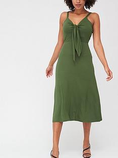 v-by-very-tie-front-midi-dress-khaki
