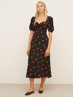 nobodys-child-rosie-ruched-front-midi-dress-black