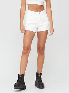 missguided-nbspriot-raw-hem-mom-shorts-white