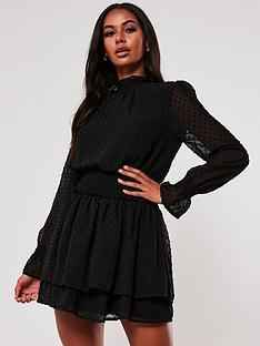 missguided-missguidednbsphigh-neck-shirred-waist-dobby-dress-black