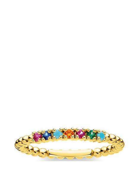 thomas-sabo-thomas-sabo-gold-plated-sterling-silver-and-multi-cubic-zirconia-stacking-ring