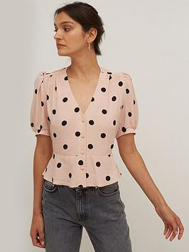 Nobodys Child Mabel Button Front Top - Pink, Pink/Black, Size 6, Women