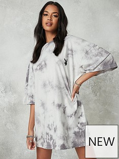 missguided-playboy-tie-dye-oversized-t-shirt-dress-charcoal