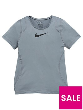 nike-girls-performance-short-sleeve-tee-grey-black