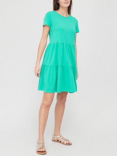 v-by-very-tiered-midi-dress-green