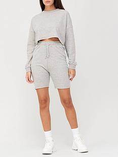 missguided-missguidednbspcrop-sweat-and-cycling-short-set-grey-marl