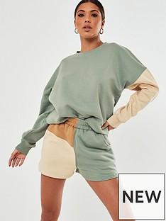 missguided-co-ord-sweatshirt-colour-block-sage