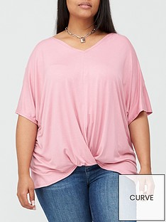 v-by-very-curve-twist-front-t-shirt-pink