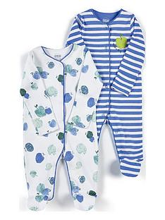 mamas-papas-unisex-baby-2-pack-apple-sleepsuits-blue