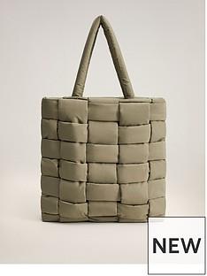 mango-crosshatch-nylon-tote-bag-khaki