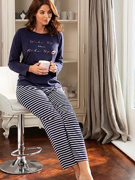 pour-moi-jersey-cotton-slogan-wake-up-make-up-stripe-pj-set-navy