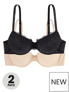 dorina-enact-2-packnbsplightly-padded-demi-bra-blackbeige