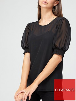 v-by-very-mesh-puff-sleeve-top-black